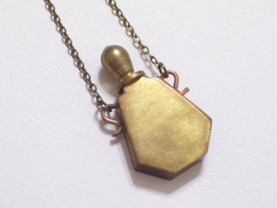 Vintage brass perfume bottle vial pendant necklace by lovelockets vintage brass perfume bottle vial pendant necklace by lovelockets 3200 mozeypictures Choice Image
