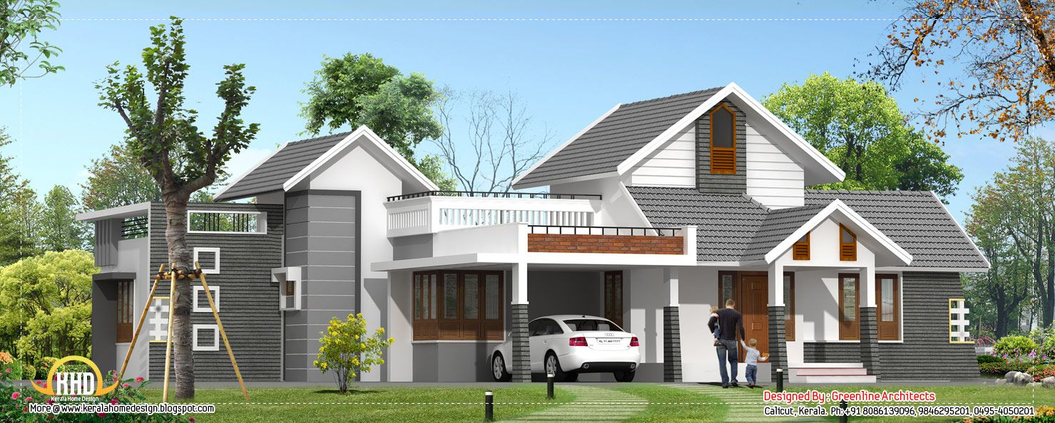 Kerala home design single floor sq ft house provision stair future expansion also rh pinterest