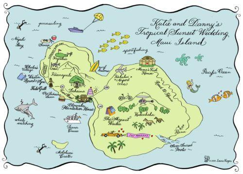 Maui Map SavetheDate Laura hooper calligraphy and Wedding