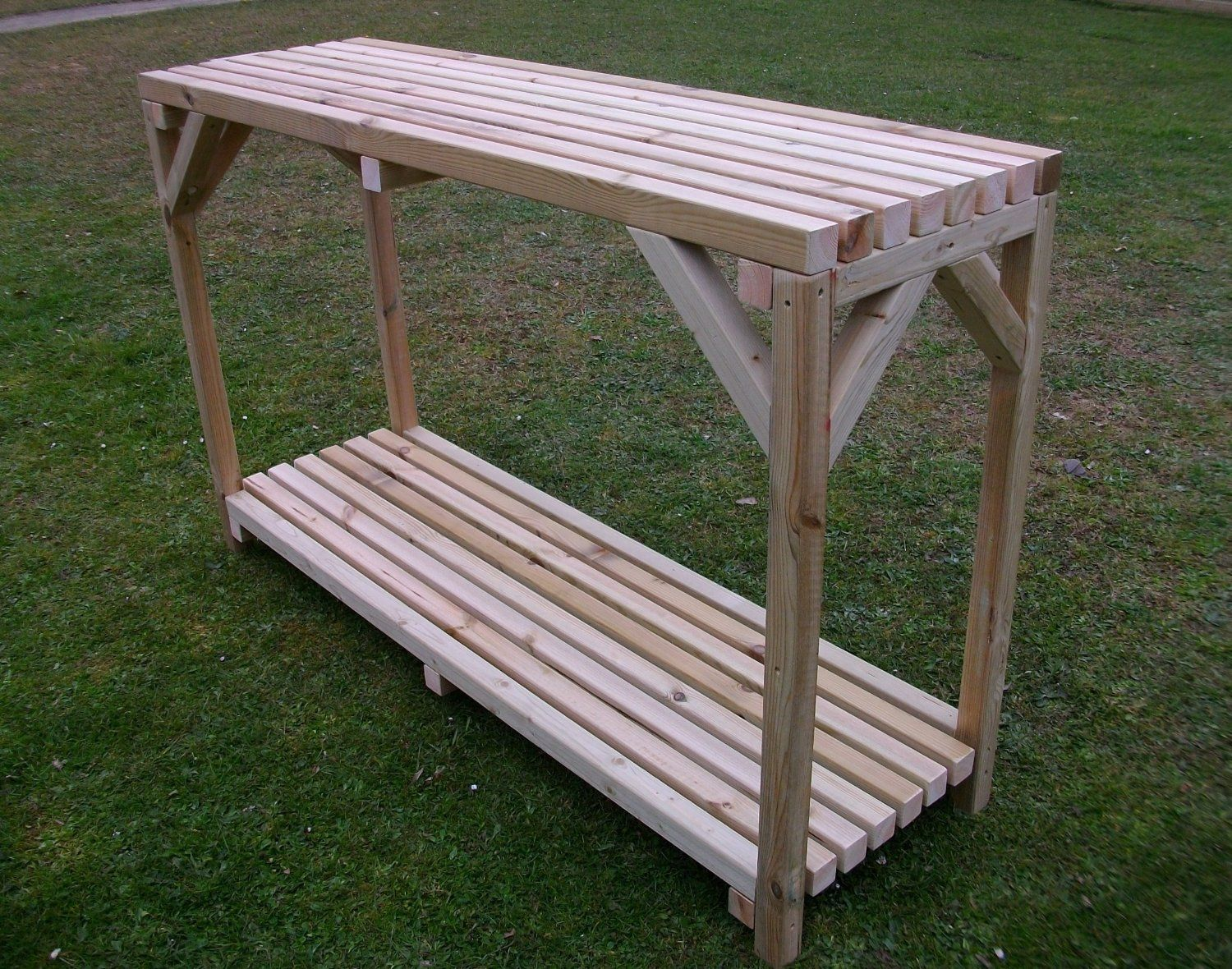 Wooden greenhouse shed potting bench staging table with for Inexpensive greenhouse shelving wood