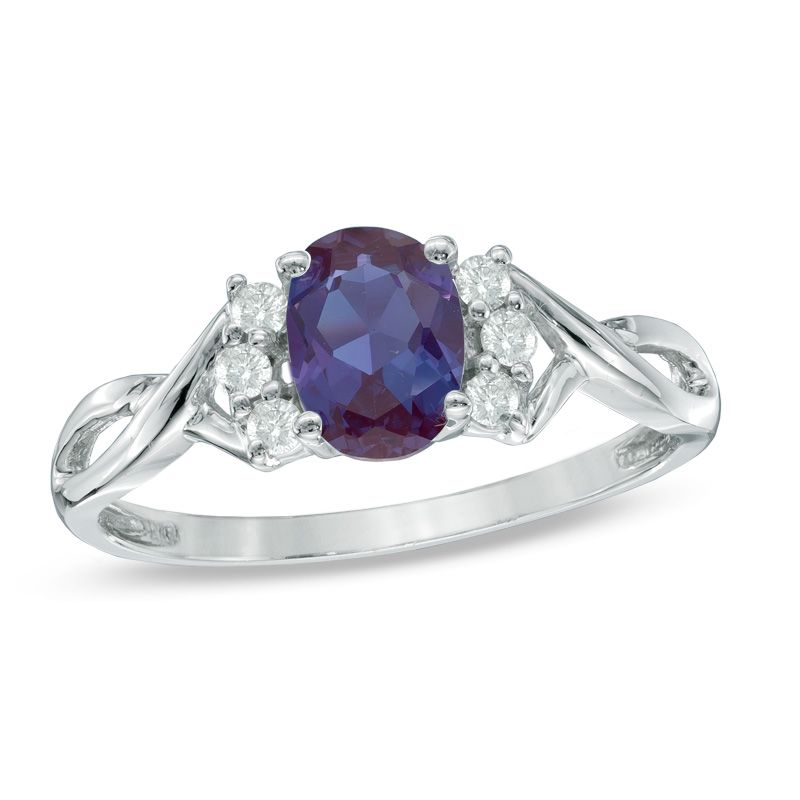 Oval Lab Created Alexandrite And 1 8 Ct T W Diamond Ring