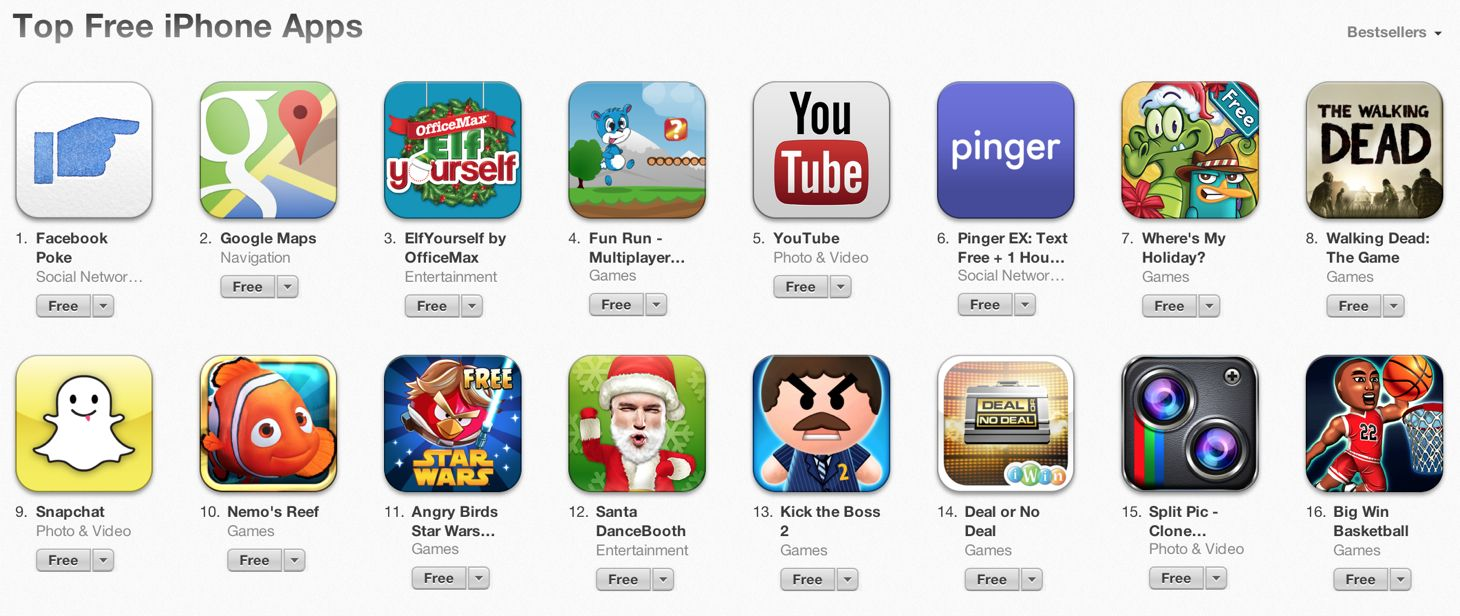 Facebook Poke The App Store's Most Popular Free