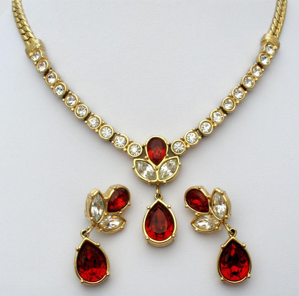Red rhinestone necklace earrings vintage set lavalier