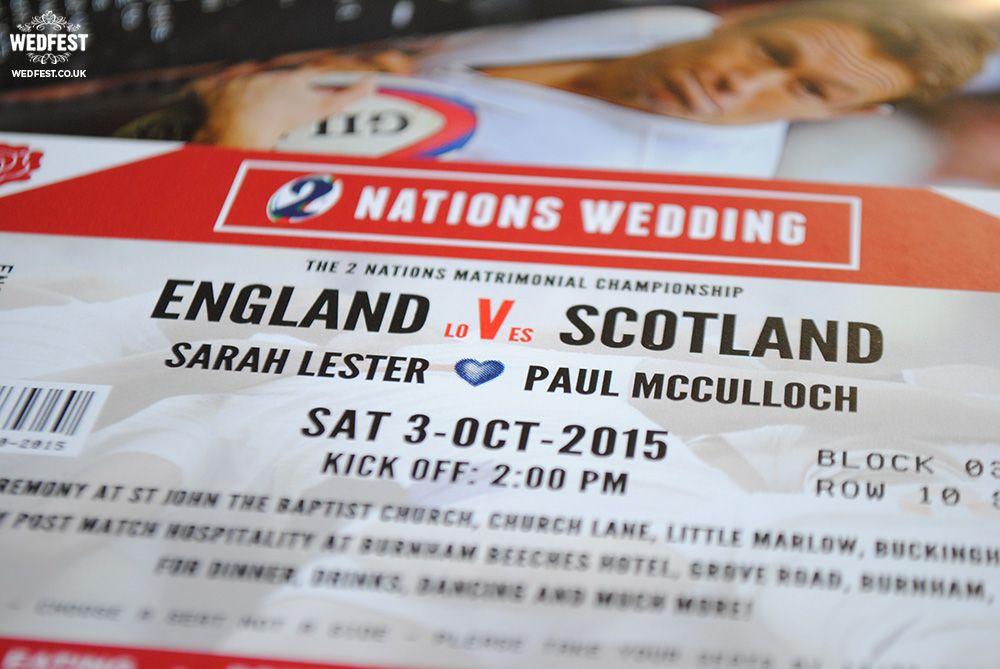 England vs Scotland Rugby Ticket Wedding Invites http://www.wedfest ...