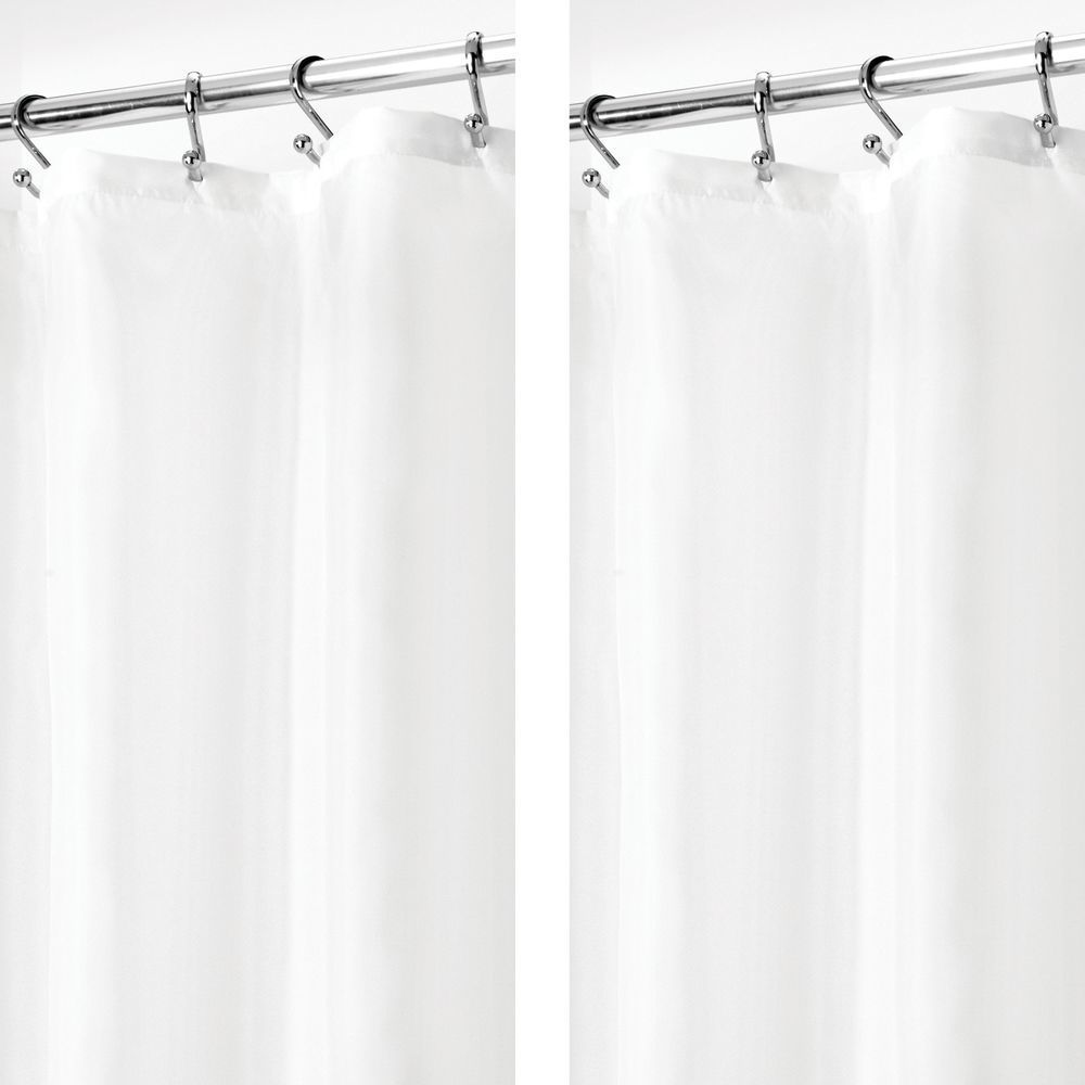 Water Repellent Fabric Shower Curtain Liner 54 X 78 In White Pack