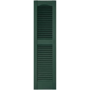 Builders Edge 12 In X 48 In Louvered Vinyl Exterior Shutters Pair In 028 Forest Green 010120048028 Window Shutters Exterior Shutters Window Shutters