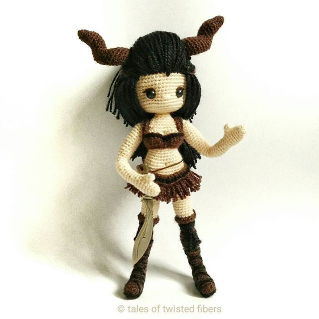 """""""Halt! Who goes there?"""" Ever had that brilliant design idea which, once executed, turns out to be not so brilliant after all? This #amigurumi is a perfect example. Inspired by #Markhor, an endangered species of wild goat, I started working on this warrior woman. I was so engrossed in incorporating horns as a part of the design that I failed to take into account the additional weight it would create. The result is a heavy head that the body is too slender to support. Another design bites t..."""