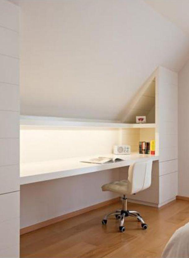 Wat te doen met een ruimte met een schuin dak geeft 10 handige tips skrivebord - Idee amenagement zolder klein volume ...