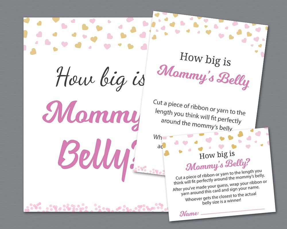 How Big Is Mommys Belly Sign And Cards Pink Gold Hearts Mommys