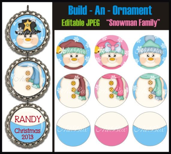 INSTANT DOWNLOAD Build An Ornament Editable Snowman Family Bottle Cap Images - 4x6 Digital Jpeg Collage Sheet - Christmas 1 Inch Circles