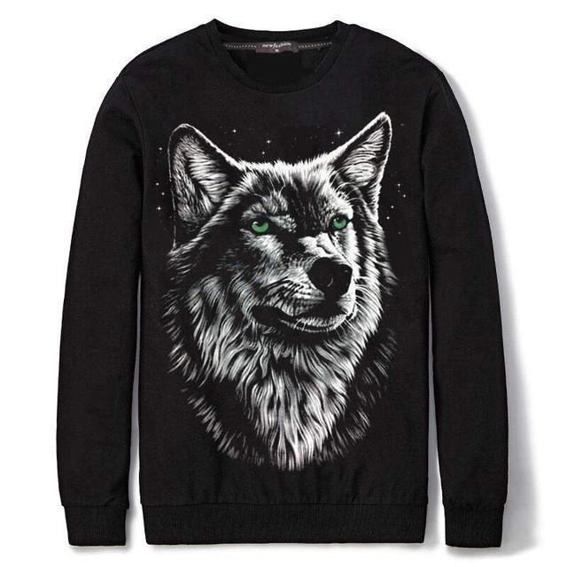 Warm Cotton Black Long Sleeve Hoodie 3D Print Sweatshirt