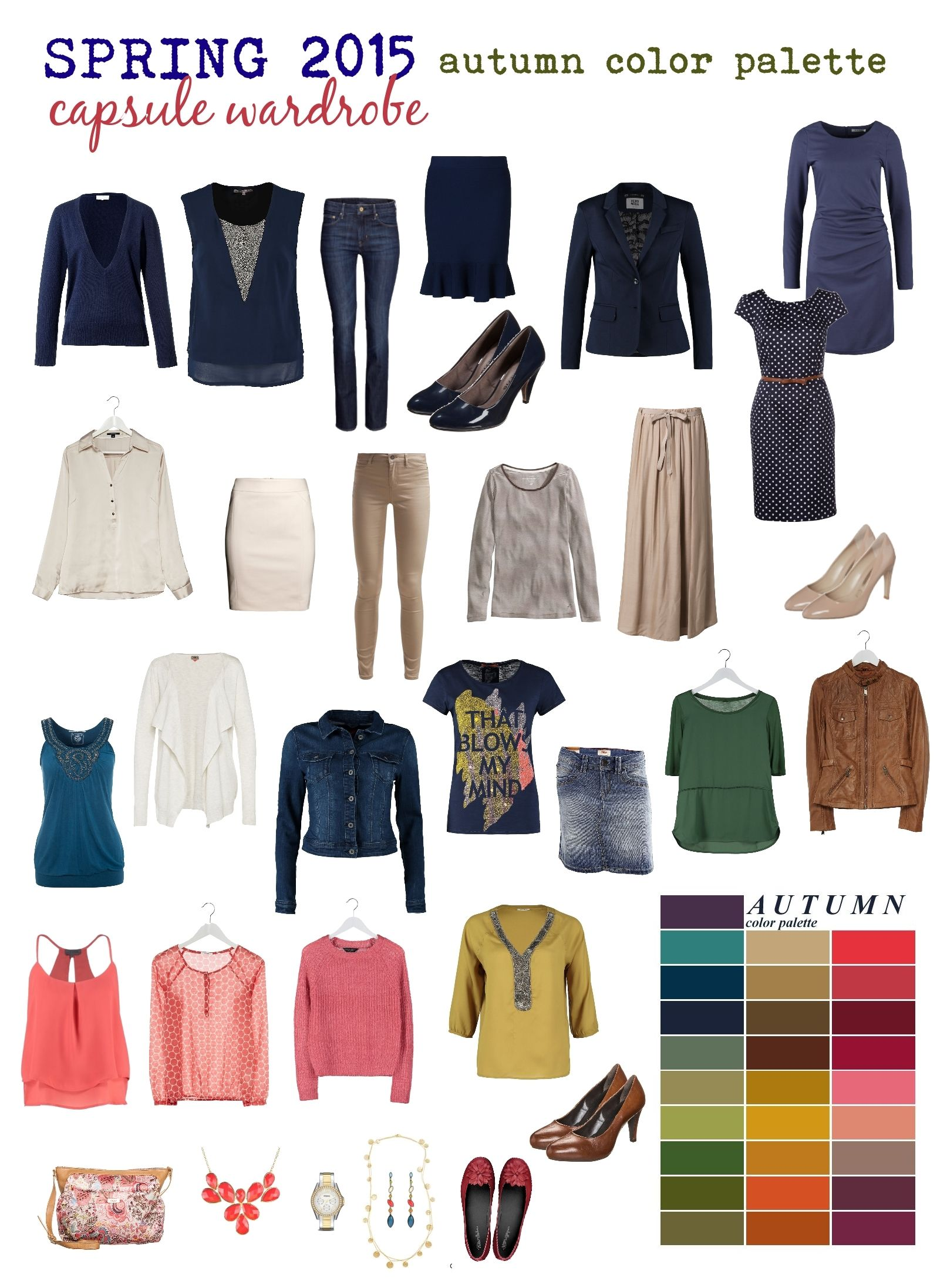 Capsule Wardrobe In Fallautumn Colors For Spring )  Navy,
