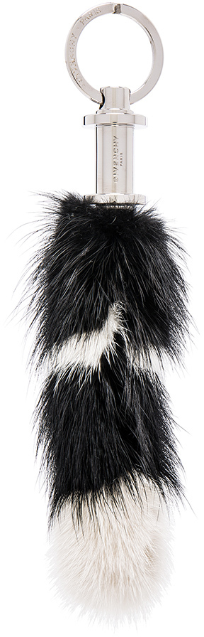 Givenchy Raccoon Fur Key Ring in Black,White