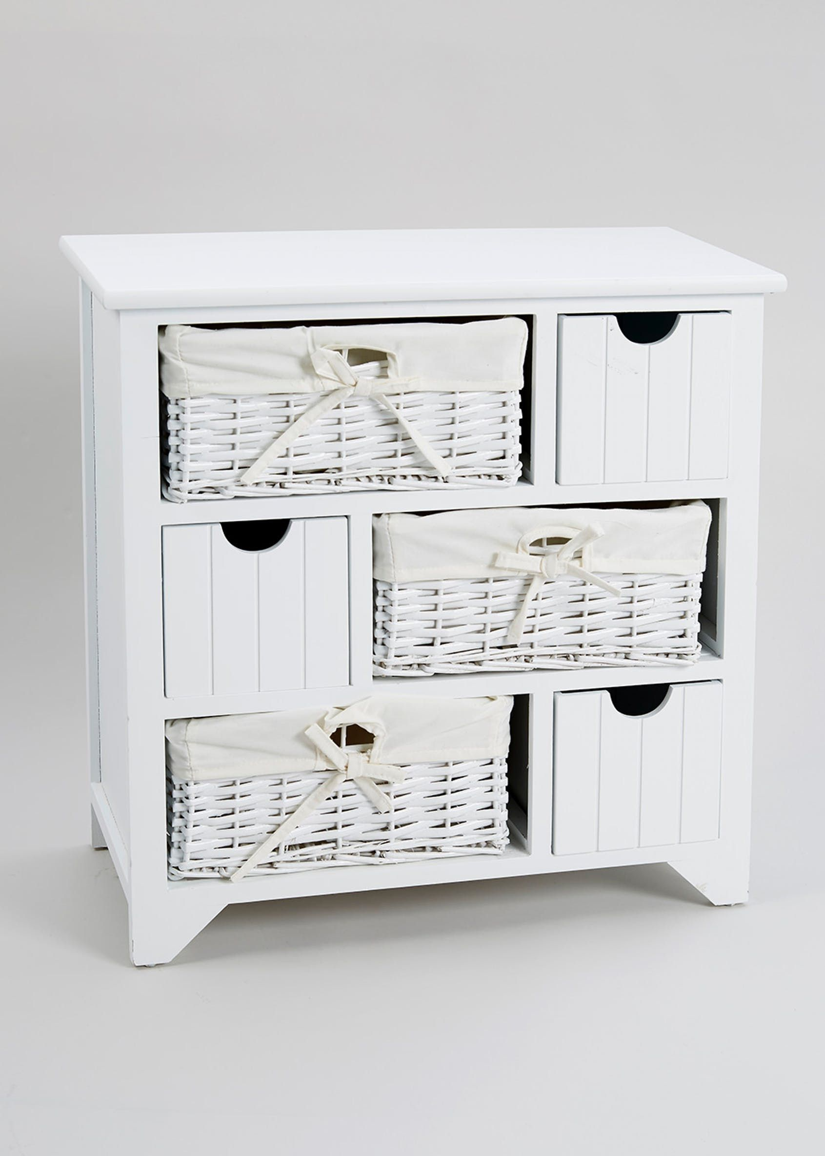 6 Drawer Storage Unit 58cm X 57cm X 27cm White Wicker Bathroom Storage Drawer Storage Unit Drawer Unit