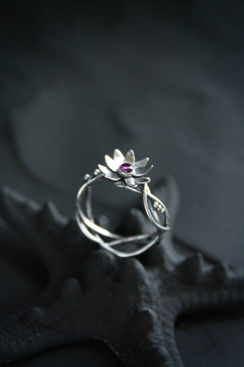 Lotus Ring Proposal Flower Ring Pink Floral Engagement Ring Silver