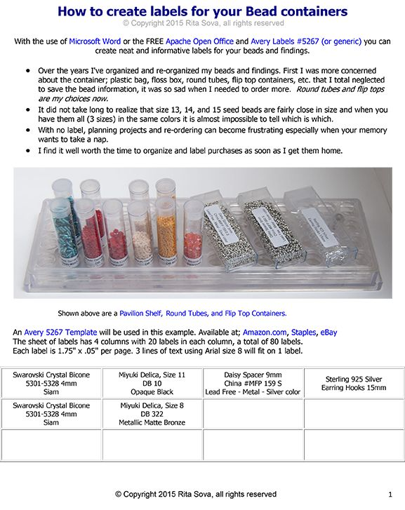 How To Create Labels For Your Bead Containers Bead Patterns