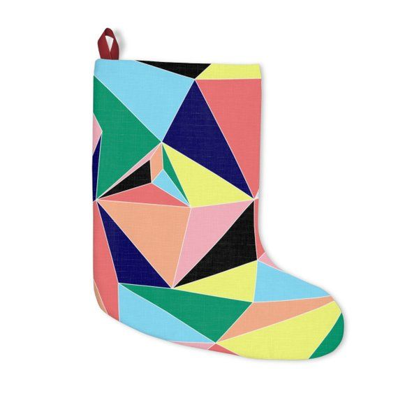 Modern Geometric Abstract Bright Colors Christmas Stocking Holiday Decor Made In Usa