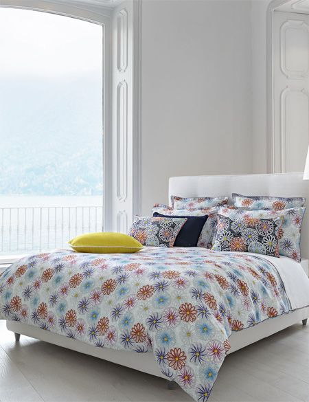 Housse couette descamps camille mari e satin imprim for Housse de couette satin de coton descamps