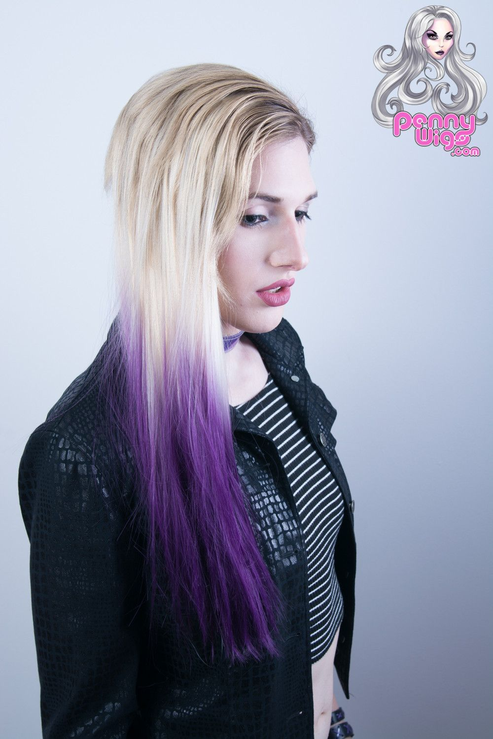 Ombre Blonde Purple Dip Dyed 7pcs Straight Clip In Hair