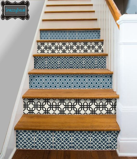 kitchen bathroom wall stair riser tile decals vinyl sticker blackblue mix fmix3 on etsy 14. Black Bedroom Furniture Sets. Home Design Ideas