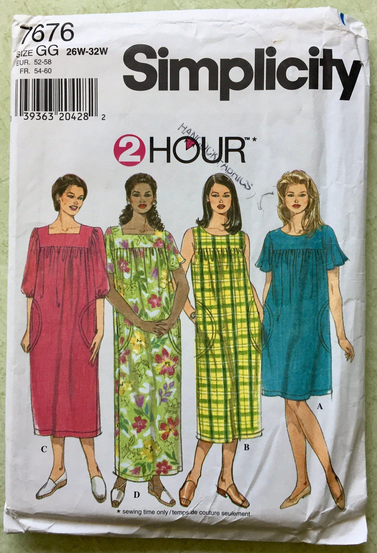 Plus Size Muu Muu Sewing Pattern Dress 4 Sizes Easy Simplicity