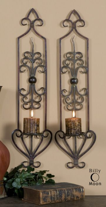 2 Candle Wall Sconce Scrolled Iron Metal Tuscan Large Set Old World Decor  New