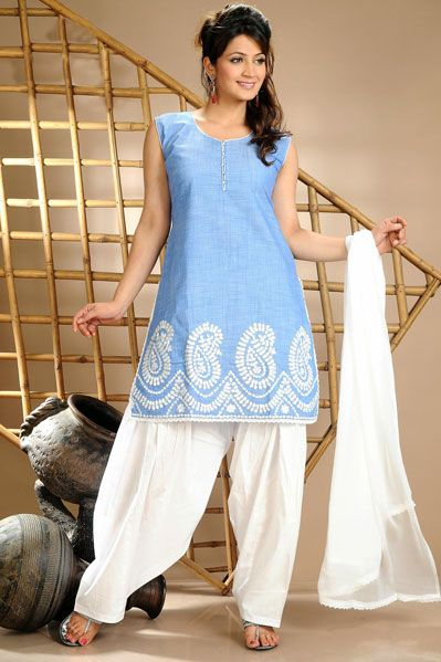 USD 53.61 Blue Cotton Punjabi Salwar Suit 34592 | Indian suits ...
