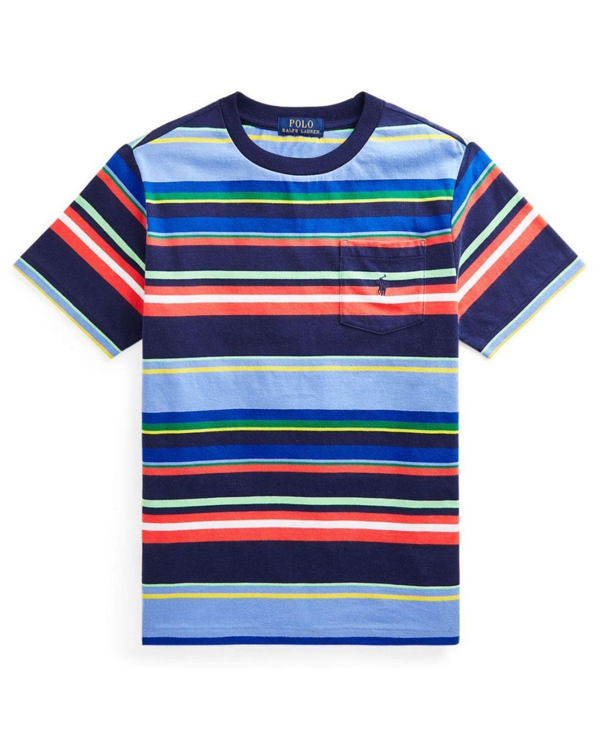 Big Boys Striped Jersey Pocket T-shirt - Newport Navy Multi