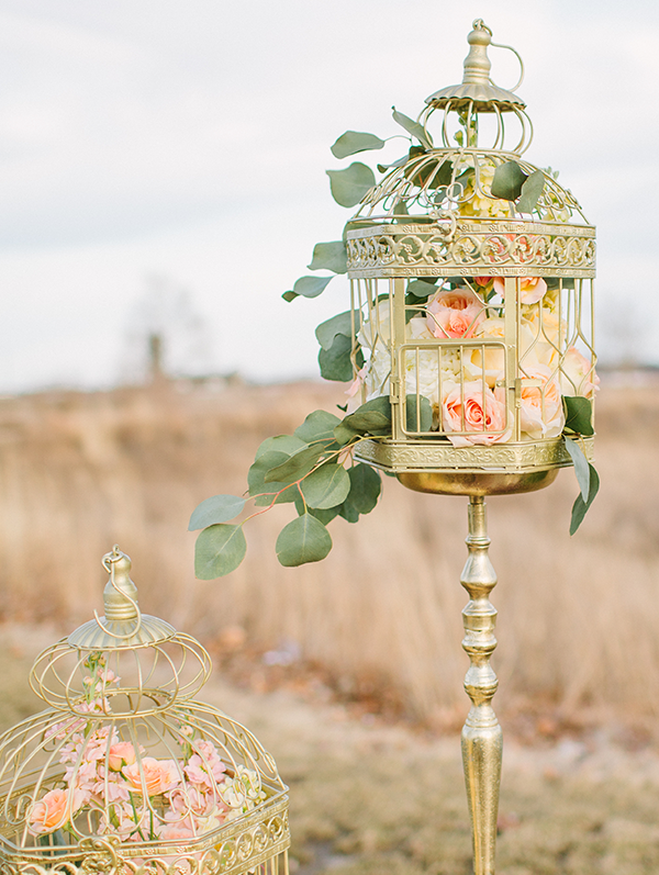 Gold birdcage at wedding reception. Jacoby Photo and Design. Reset Conference.