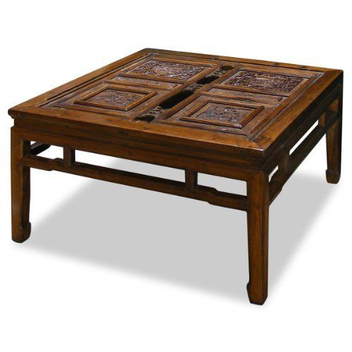 Square Coffee Table Size: Chinese Antique Panel Square Coffee Table By