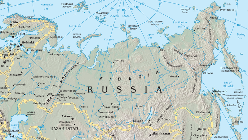 Siberia Topographical Map From Moscow And Murmansk To The West To