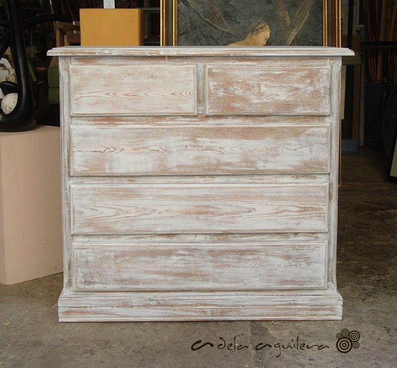 Pintura decorativa decapado blanco retauraci n de c moda - Muebles blanco decapado ...
