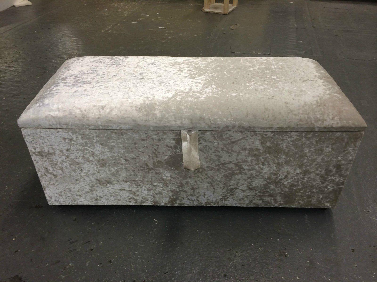 Beautiful Large Silver Crush Velvet Fabric Crystal Diamante ottoman storage box blanket box & Beautiful Large Silver Crush Velvet Fabric Crystal Diamante ottoman ...