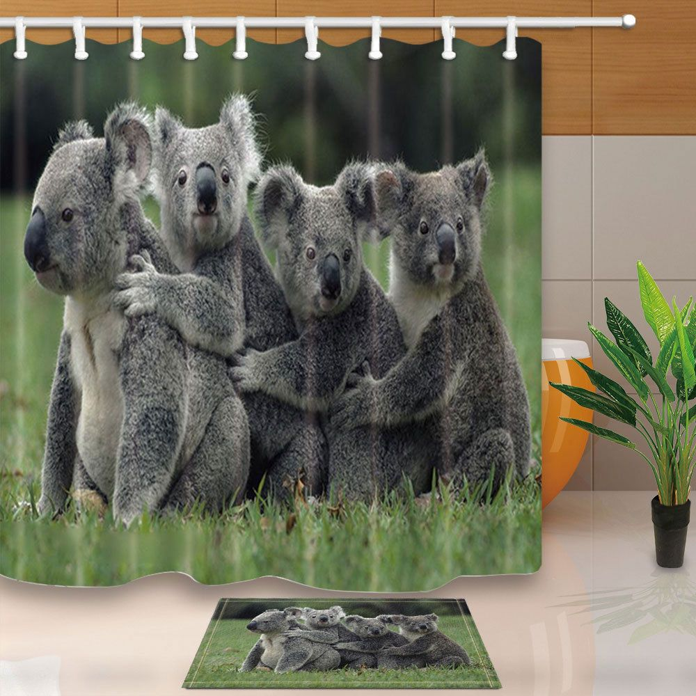 Lovely Koala Picture Bathroom Fabric Shower Curtain Set With Hooks