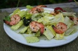 Grilled Romaine & Shrimp With a Lemon Olive Oil Marinate Salad Recipe