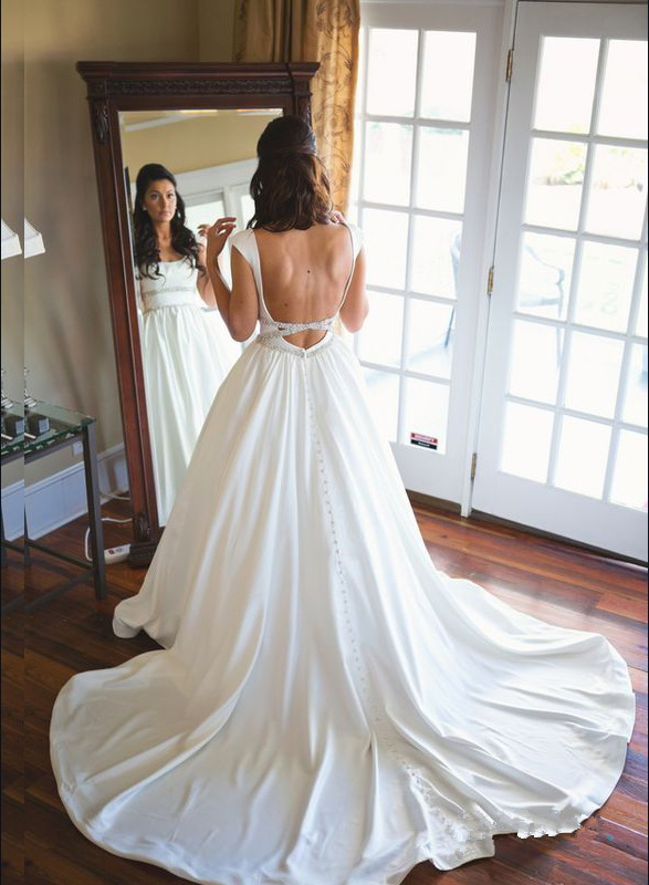 A Line Bridal Dress With Open Back Wedding Beautiful Prom Jd 298