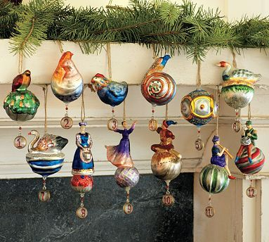 12 Days Of Christmas Mercury Ornaments Set Of 12 Modern Christmas Ornaments Christmas Ornaments Christmas Ornament Sets