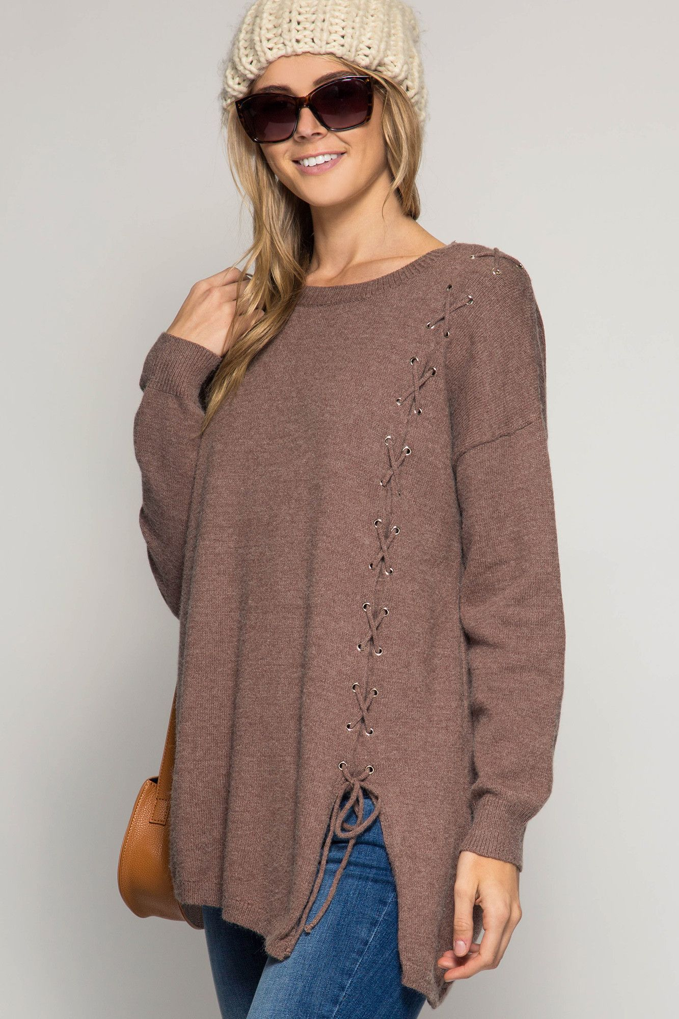 Long Sleve Sweater Tunic Top with One Side Lace-Up Detail ...