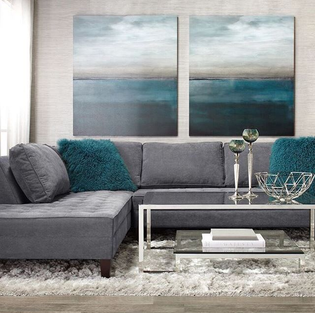 Grey Blue And Brown Living Room Design: Grey And Teal Living Room ... Z Gallerie In 2019
