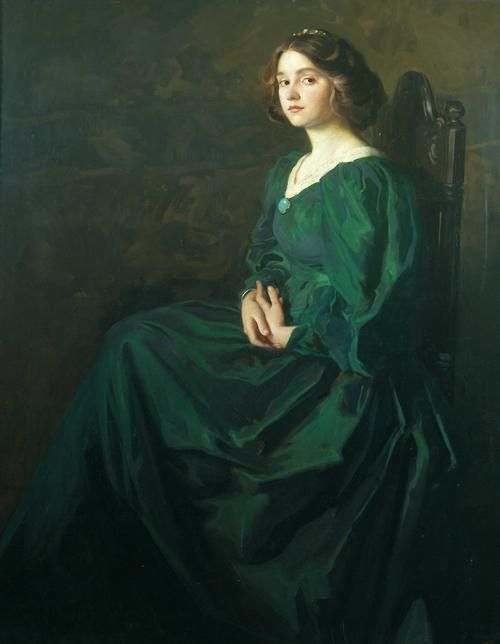 The Green Gown, by Thomas Edwin Mostyn (1864-1930), Bolton Museums