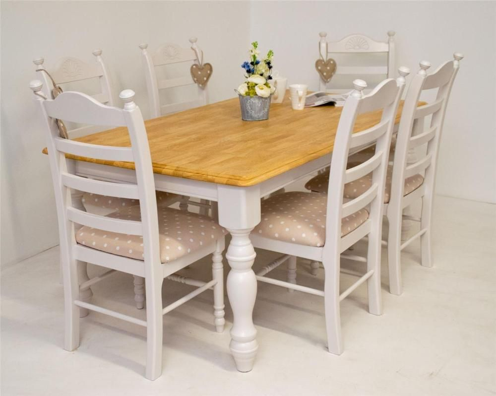 Shabby Chic Farmhouse Oak Dining Table and 9 chairs solid Kitchen ...
