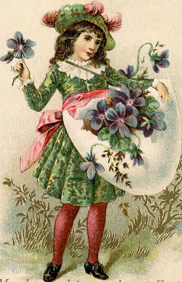 Victorian Girl with Violets ~ Zibi Vintage Scrap