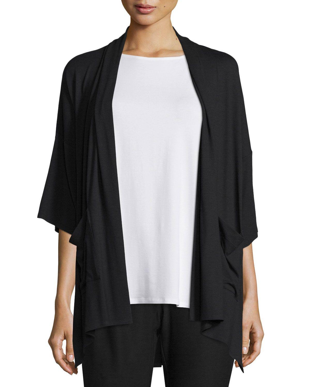 90a2a2222b0 3/4-Sleeve Kimono Cardigan, Green - Eileen Fisher | *Neiman Marcus ...