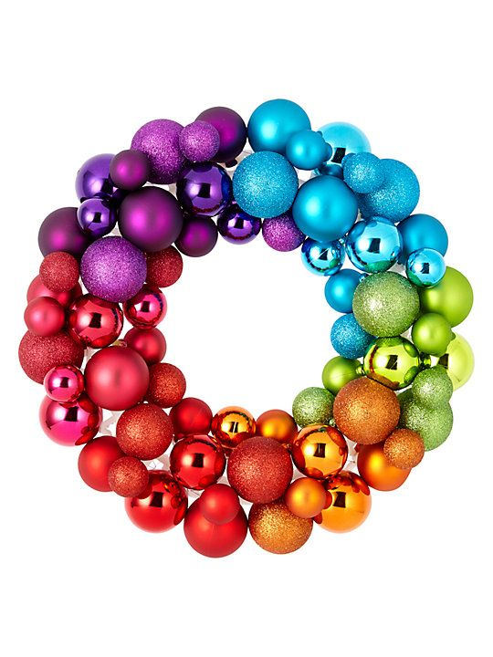 John Lewis & Partners Rainbow Bauble Wreath, Multi #baublewreath