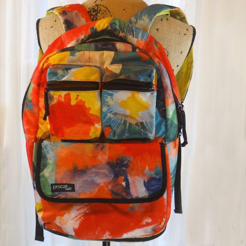 a4f5da7cb3c ... Puma ProCat Jenna Splatter Paint Tie Dye Backpack Bookbag Orange Green  Blue PUMA BackpackBookbag buy popular ...