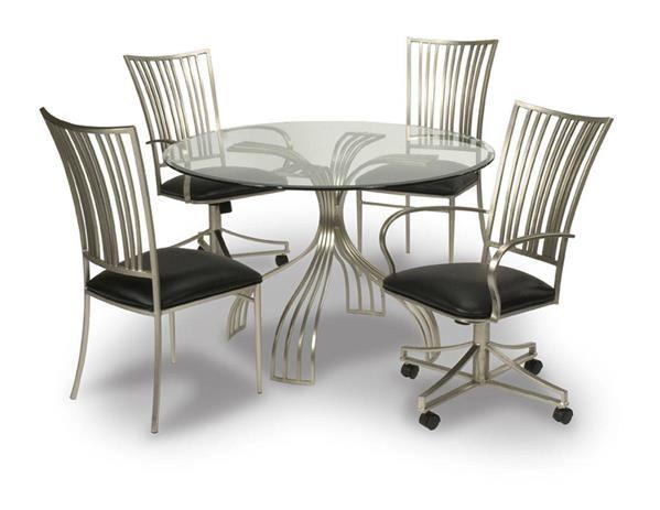 Ashtyn Black Glass Pvc Metal Dining Room Set Dining Table Glass