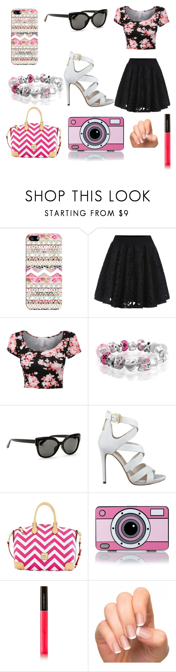 """""""pink and black style"""" by annabelle-loves-summer ❤ liked on Polyvore featuring Casetify, Bling Jewelry, GUESS, Dooney & Bourke, Yazbukey and Illamasqua"""
