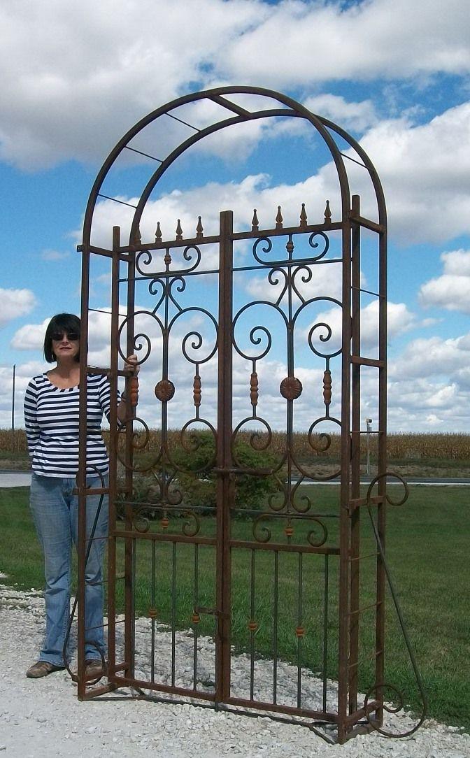 Garden Arbor Gate Steel Archway Trellis Wedding Arch Gated Path 8