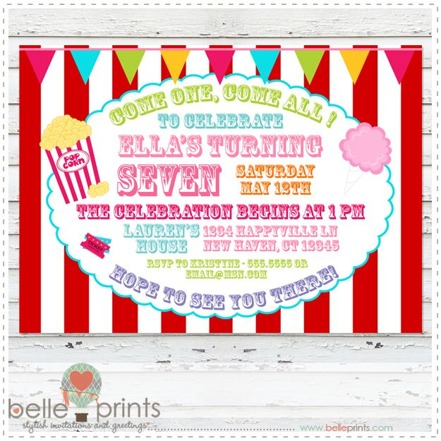 10 Best images about Carnival Birthday Invites on Pinterest ...