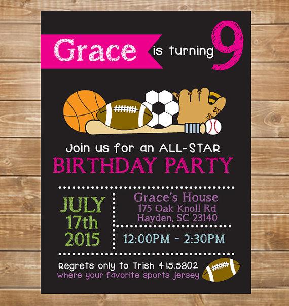 Girls Printable Sports Birthday Invitation All Star Chalkboard Party Invite DIY Pink